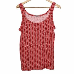 Gap Zigzag/Chevron/Geometric Print Tank Top Red M